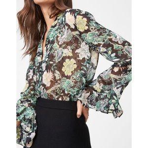 Club Monaco Tallant Sheer Floral Ruffle Sleeve Top